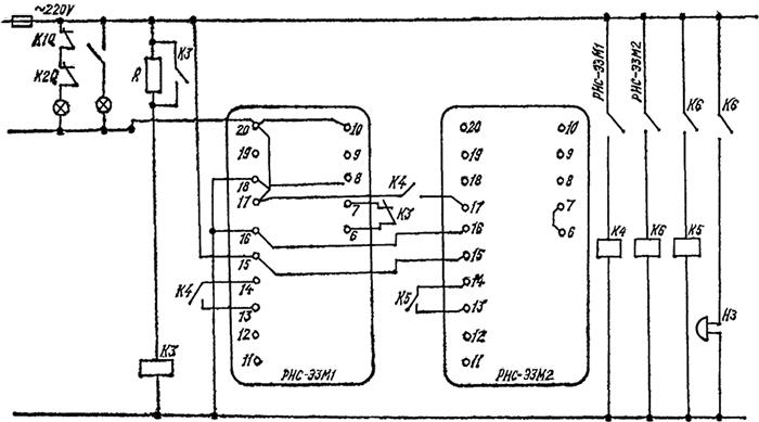 Рисунок 4. Схема применение реле РИС-ЭЗМ в схеме сигнализации на переменном оперативном токе с центральной выдержкой времени
